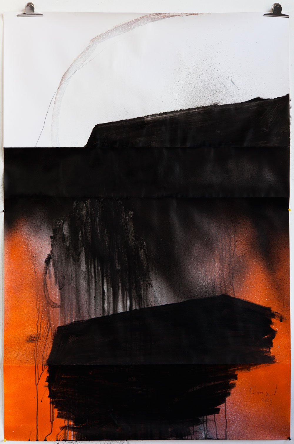 Stephane Leonard / ot / lacquer and pencil on paper / 110 x 166 cm / 2013
