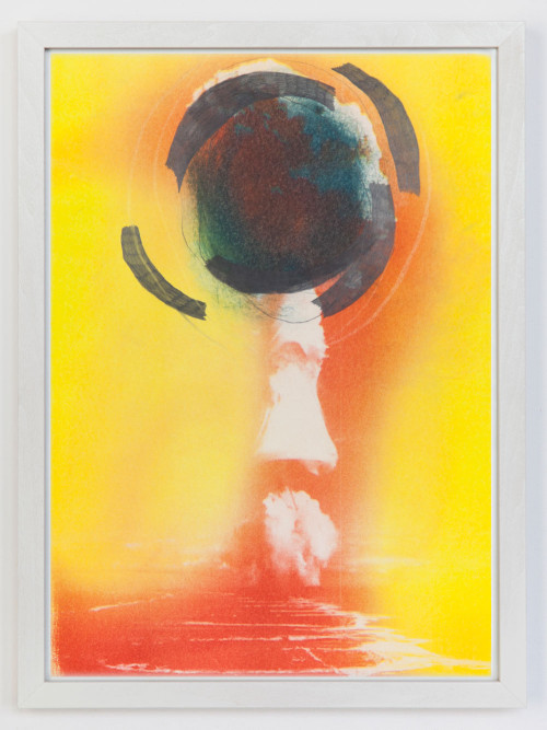 Stephane Leonard / When The Wind Blows / pencil and oil on Risograph print / 29 x 41 cm / 2013