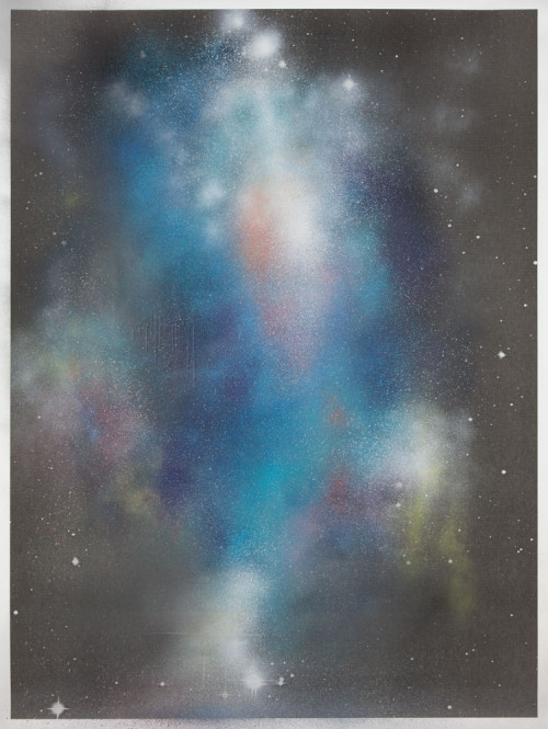 Stephane Leonard / ot / spray paint on paper with inkjet print  / 150 x 200 cm / 2013
