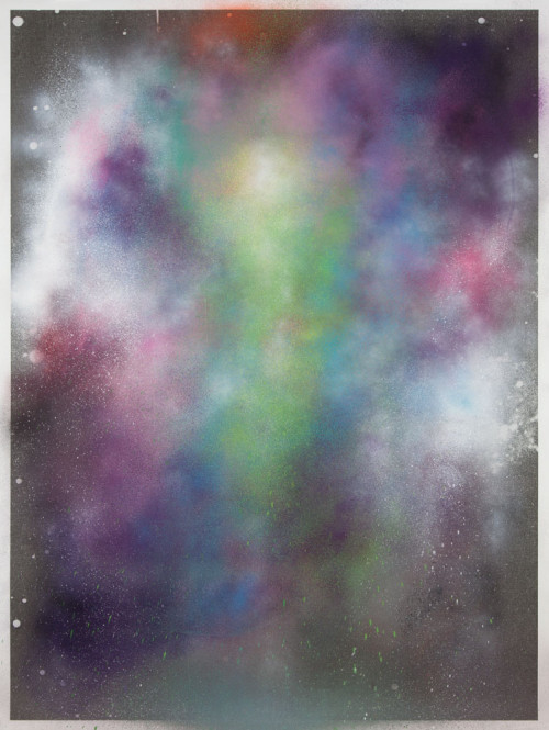 Stephane Leonard / ot / spray paint on paper with inkjet print  / 200 x 150 cm / 2013