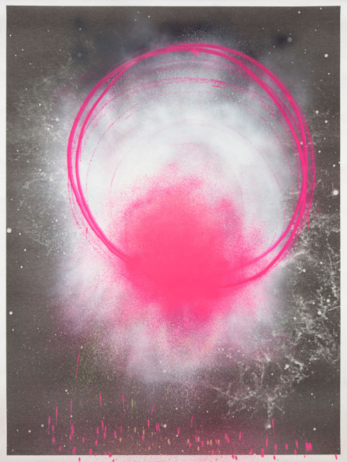 Stephane Leonard / ot (Planets Series) / spray paint on paper with inkjet print / 150 x 200 cm / 2013