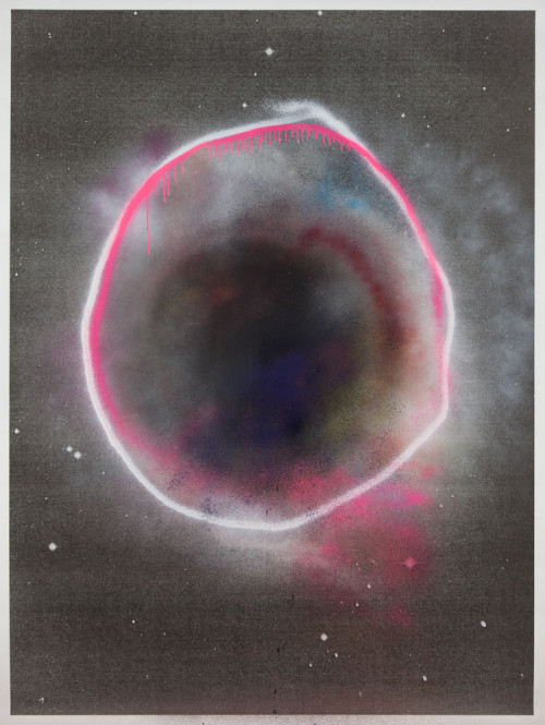 Stephane Leonard / ot (Planets Series) / spray paint on paper with inkjet print / 150 x 200 cm /