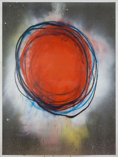 Stephane Leonard / ot (Planets Series) / spray paint on paper with inkjet print / 150 x 200 cm /